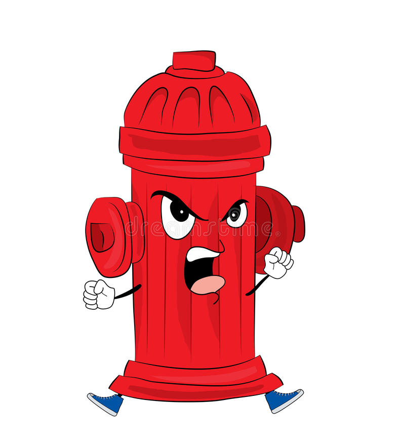 Angry hydrant cartoon. Vector illustration of angry hydrant cartoon royalty free illustration