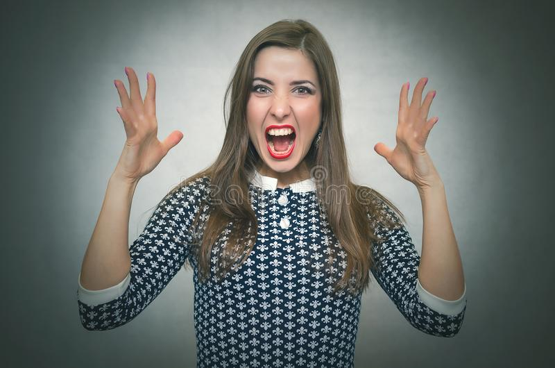 Angry irritated woman. Demanding dissatisfied boss. stock images