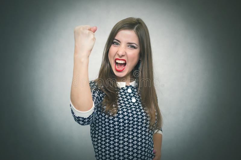 Angry irritated woman. Demanding dissatisfied boss. stock photos