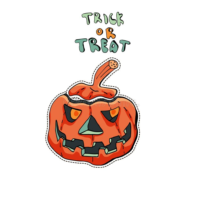 Angry Jack o Lantern. Cute Halloween character sticker. Vector illustration of pumpkin. Text Trick or treat royalty free illustration