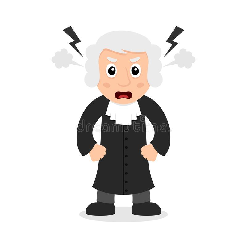 Angry Judge Cartoon Character. Angry judge or magistrate cartoon character, isolated on white background. Please check my portfolio for ten versions of the same stock illustration