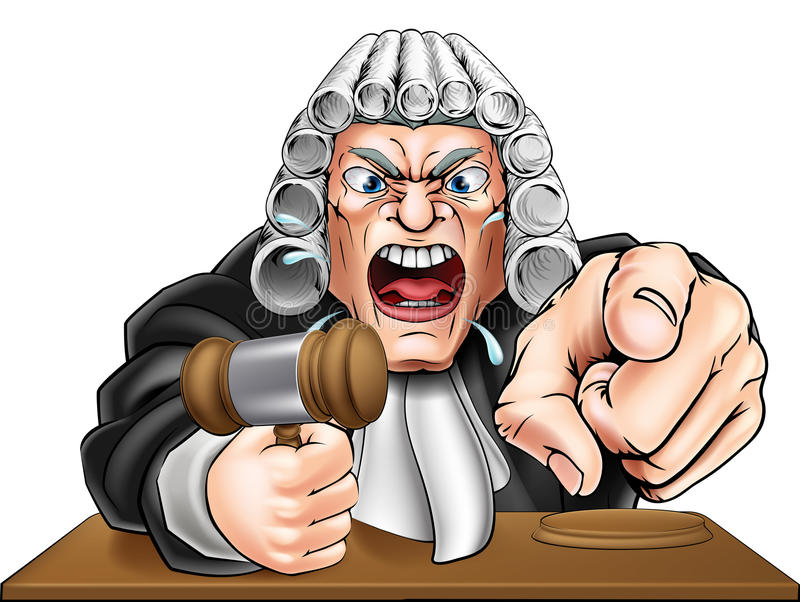 Angry Judge Cartoon. Cartoon angry judge cartoon character screaming and pointing stock illustration