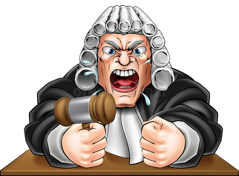 Angry Judge with Gavel royalty free illustration