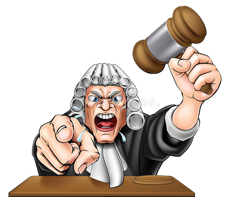 Angry Judge. An illustration of an angry judge cartoon character shouting and pointing at the viewer stock illustration