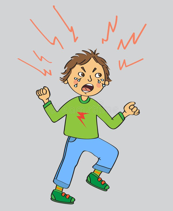 Angry kid with lightnings around the head vector illustration