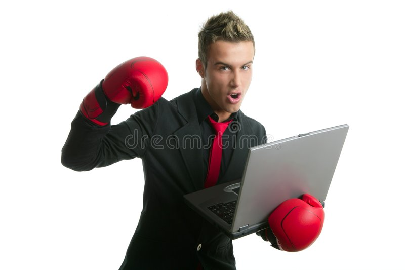 Angry with laptop computer young boxer businessman royalty free stock photography