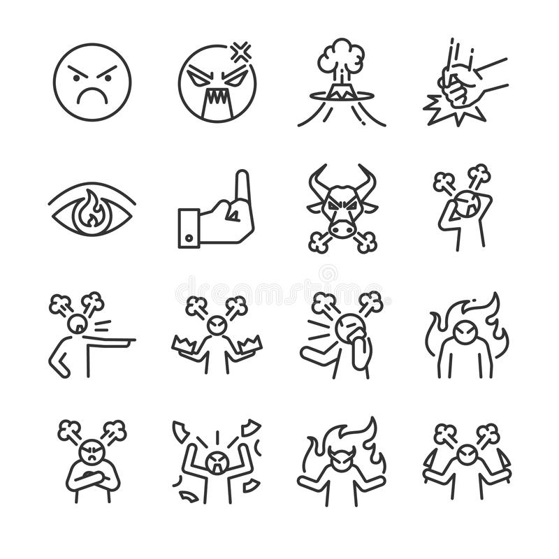 Angry line icon set. Included the icons as mad, moody, crazy, devil, blame, upset and more. Line icon vector: Angry line icon set. Included the icons as mad vector illustration