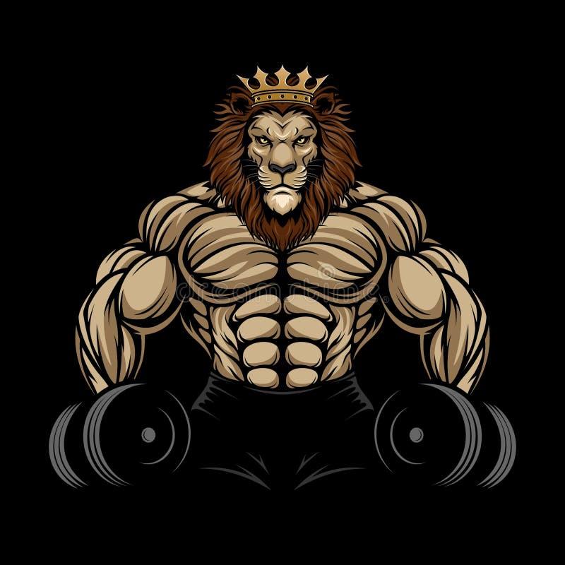 ANGRY LION GYM. CUSTOM DESIGN VECTOR ANGRY LION GYM stock illustration