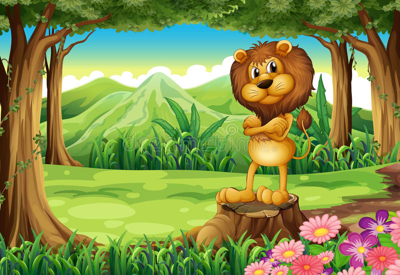 An angry lion standing above the stump at the forest royalty free illustration