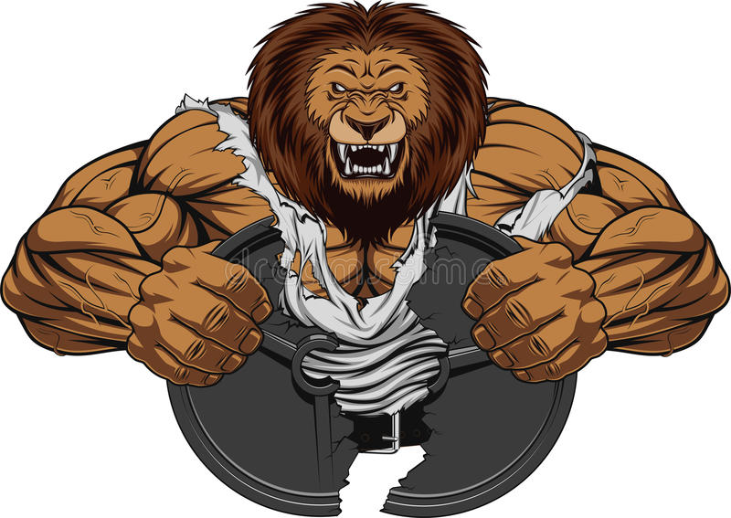 Angry lion strong royalty free illustration