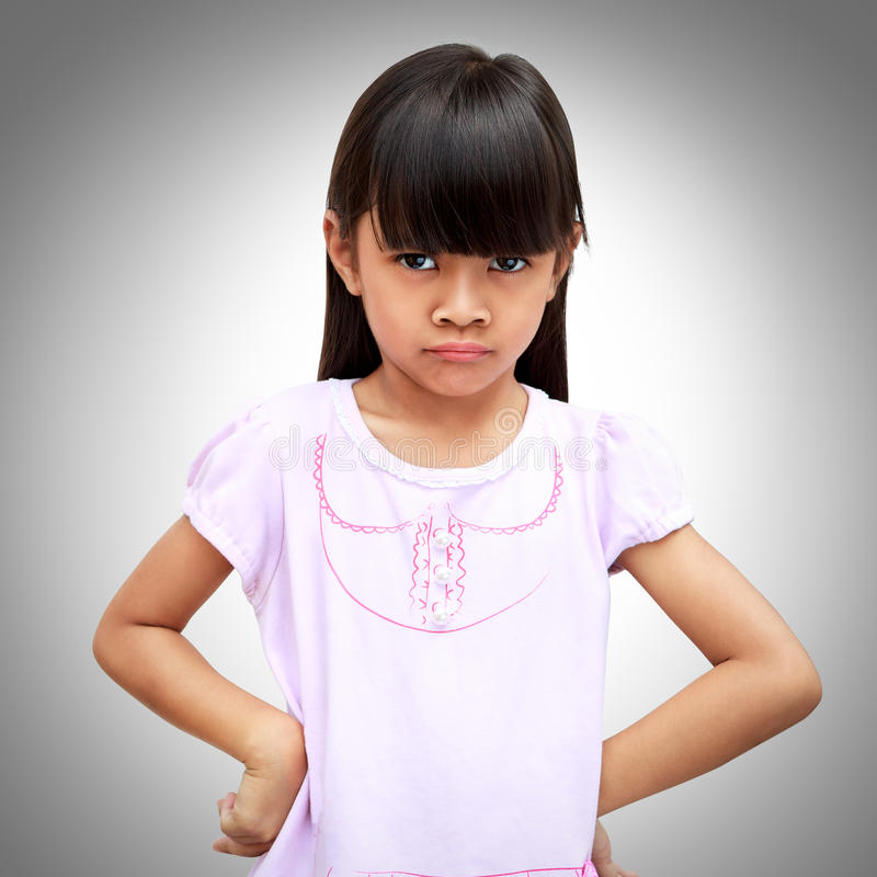 Angry little asian girl royalty free stock photos