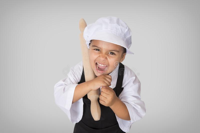 Angry little chef royalty free stock photos