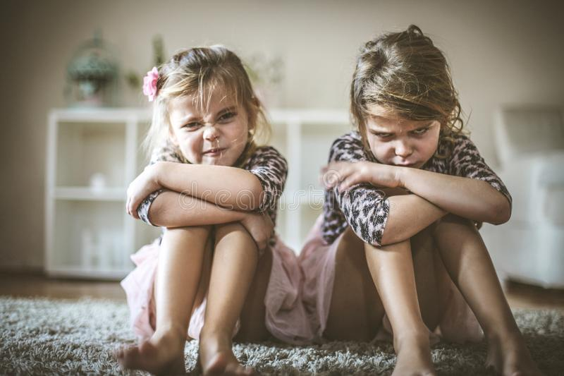 Angry little girls. royalty free stock photos