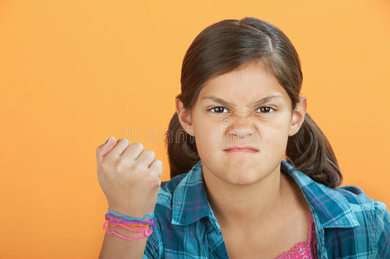 Angry Little Kid Stock Photo