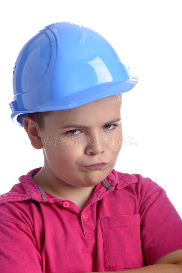 Free Angry Looking Boy With Blue Protection Helmet Royalty Free Stock Image - 20969736