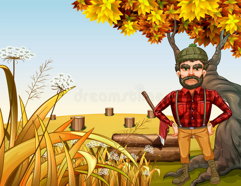 An angry lumberjack near the giant old tree stock illustration
