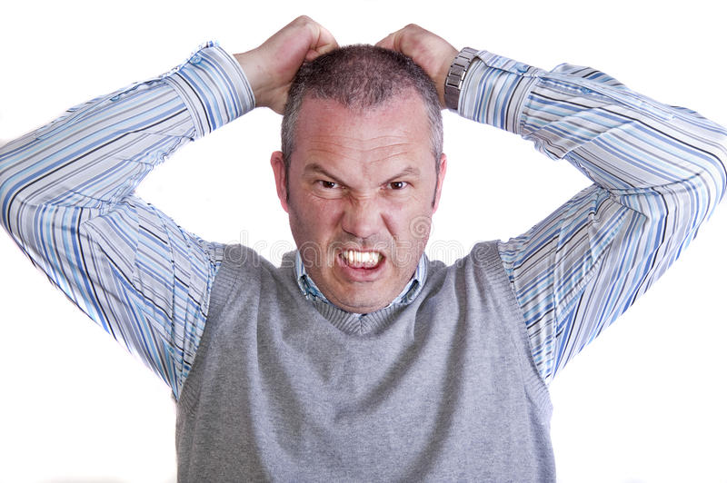 Angry mad frustrated middle aged caucasian male stock images