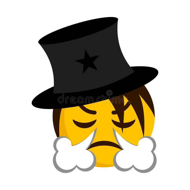 Angry magician emoji blowing wind from its nose vector illustration
