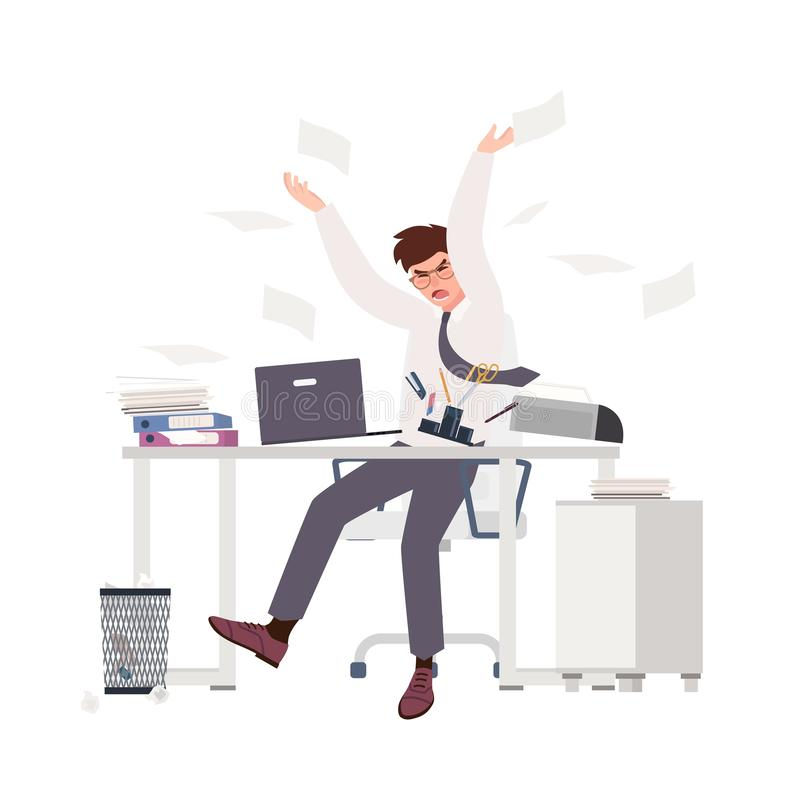 Angry male clerk sitting at desk and throwing documents. Fearful man at office. Stressful work, stress at workplace royalty free illustration