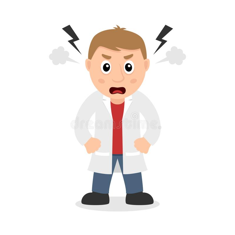 Angry Male Doctor Cartoon Character royalty free illustration