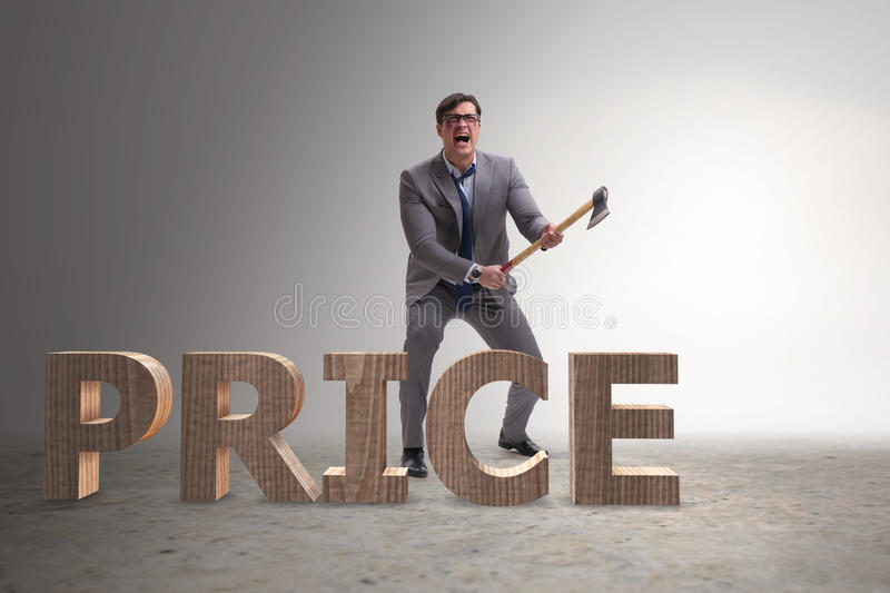 The angry man with axe axing the price word. Angry man with axe axing the price word royalty free stock photos