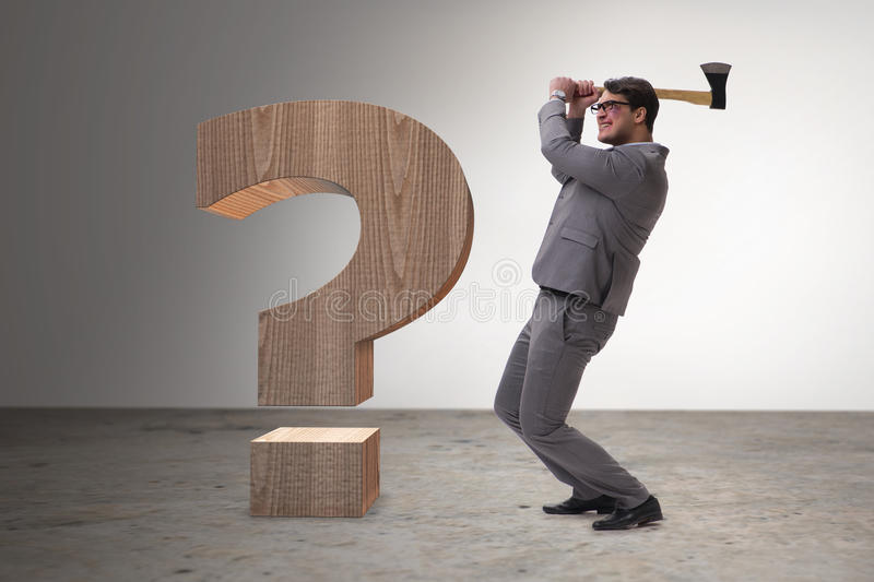 The angry man with axe axing the question mark. Angry man with axe axing the question mark royalty free stock images