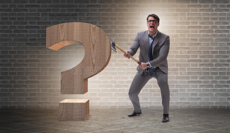 The angry man with axe axing the question mark. Angry man with axe axing the question mark stock image