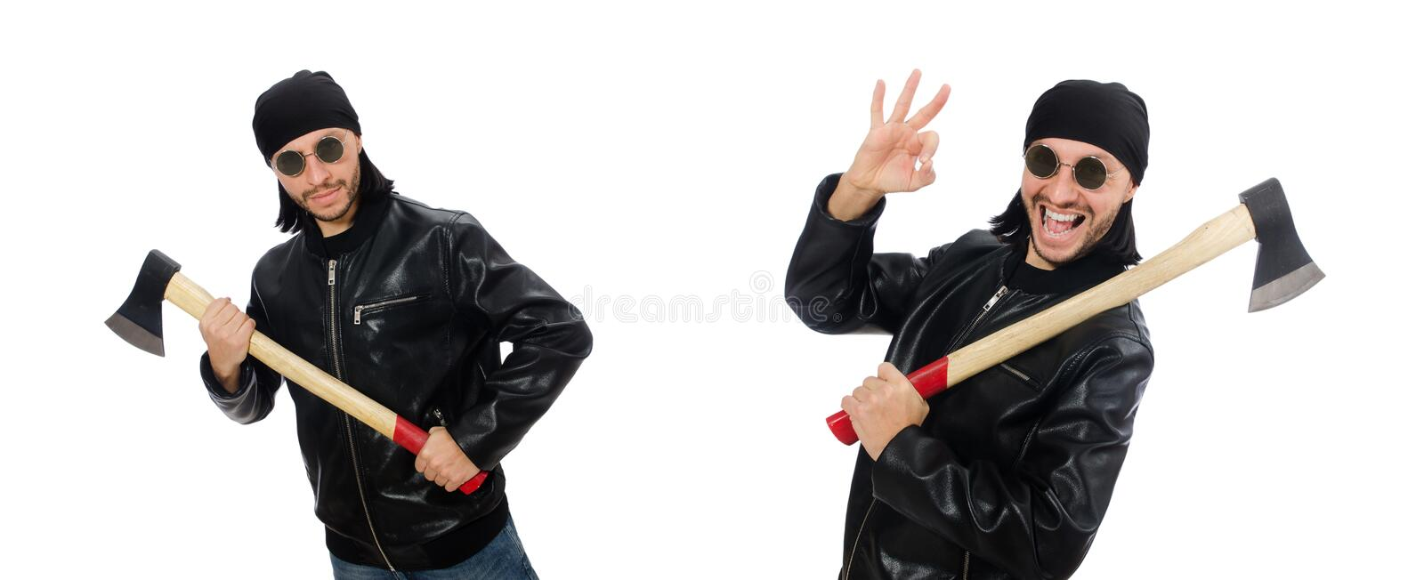 Angry man with axe isolated on white royalty free stock image