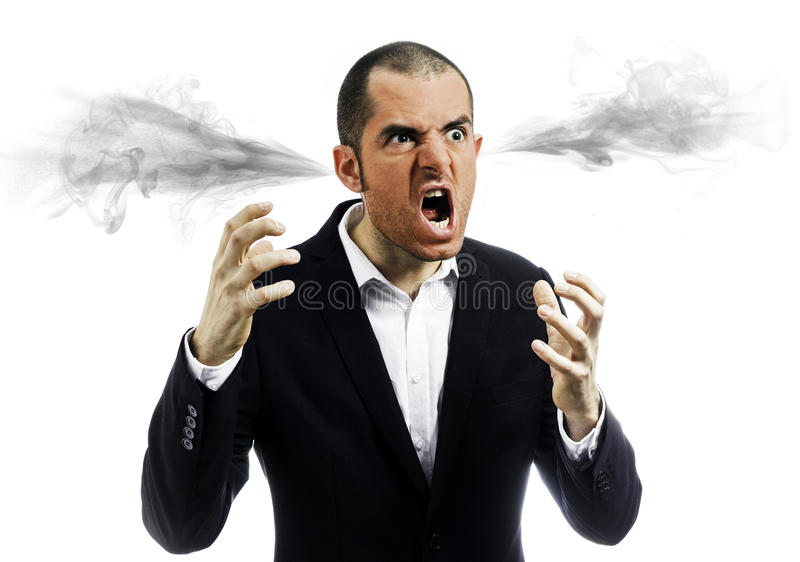 Angry man exploded stock photo