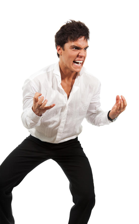 Angry man gesticulating with hands stock photo