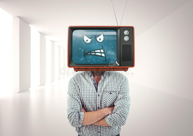Angry man with his hands folded. Tv head. Digital composite of Angry man with his hands folded. Tv head stock photos