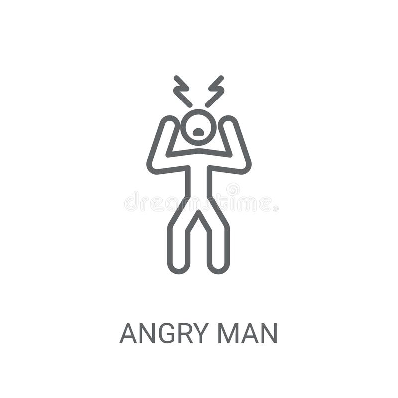 Angry Man icon. Trendy Angry Man logo concept on white backgroun stock illustration