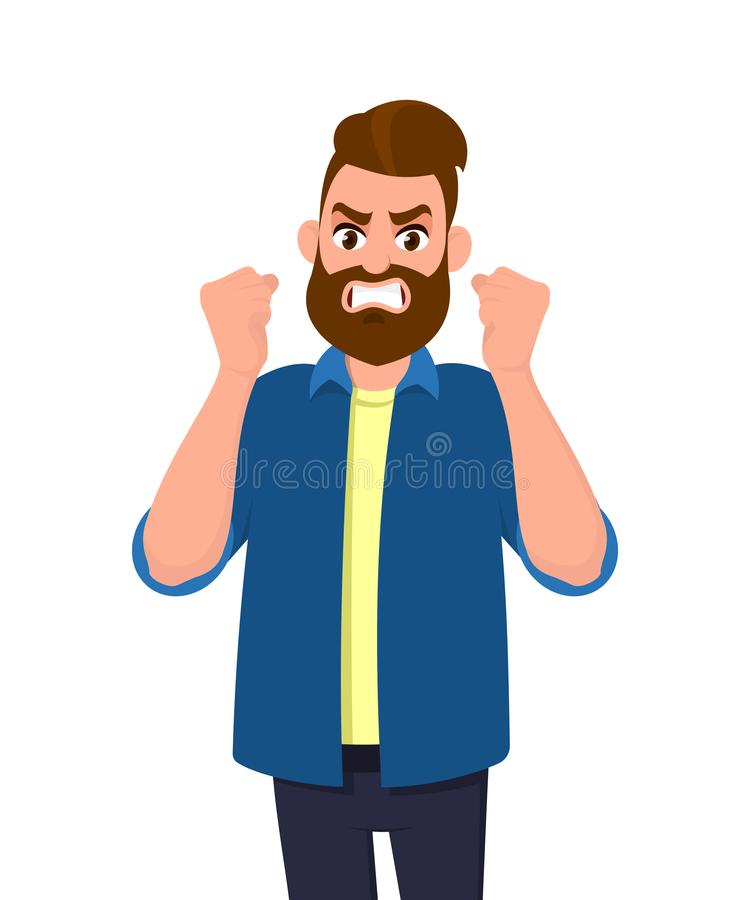 Angry man raised fist and shout or screaming expression. Man expresses negative emotions and feelings, shouts loudly. vector illustration