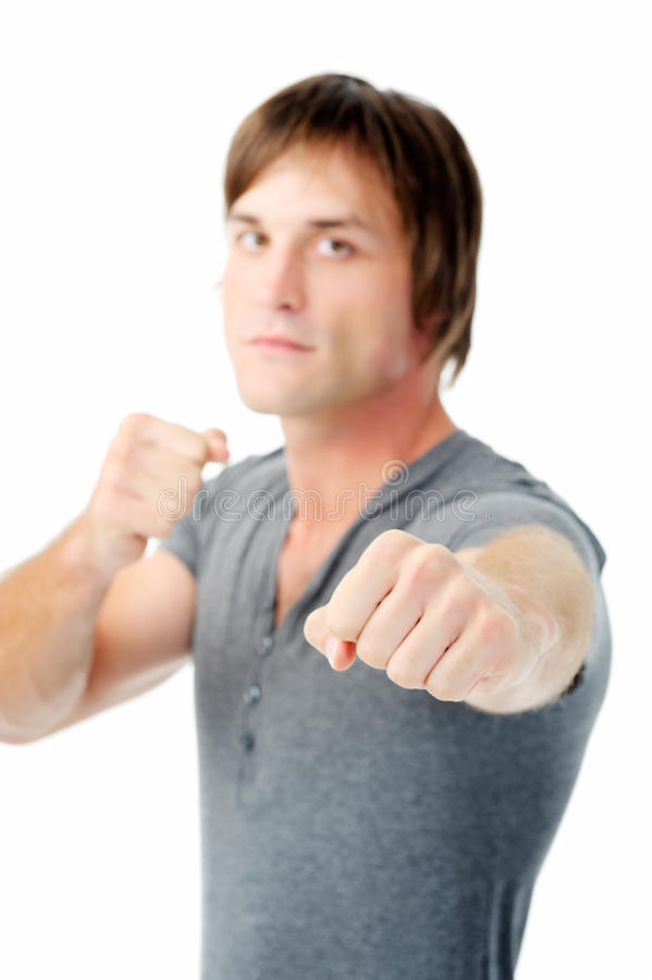Angry man ready to fight