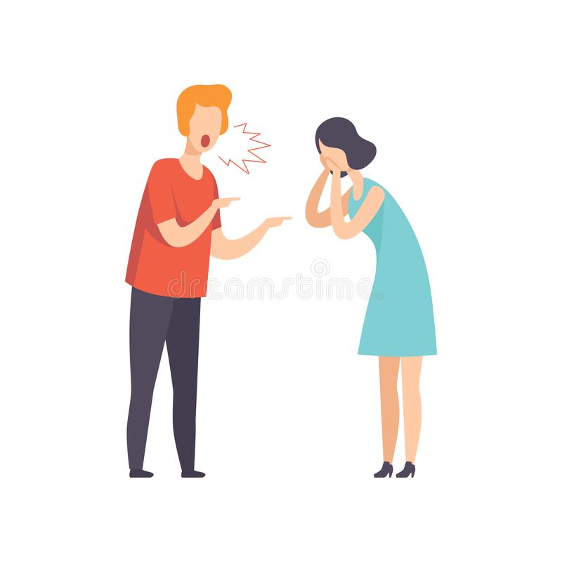 Angry man screaming at crying woman, couple quarreling, family conflict, disagreement in relationship vector. Illustration isolated on a white background royalty free illustration