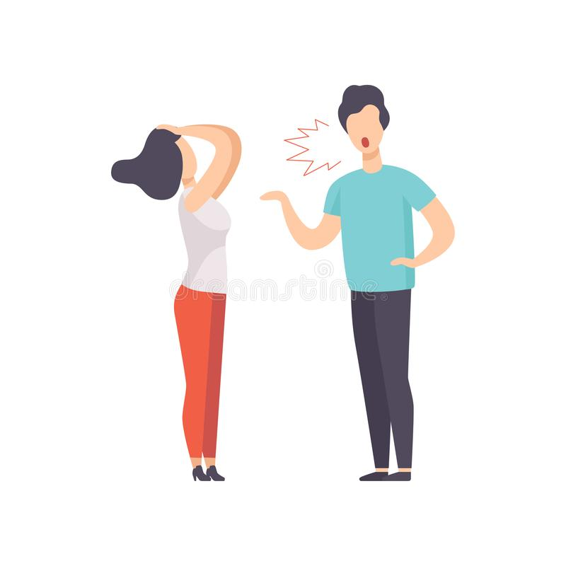 Angry man screaming at young woman, couple quarreling, family conflict, disagreement in relationship vector Illustration vector illustration
