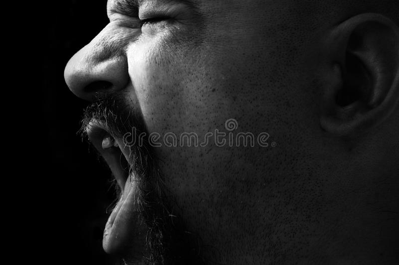 Angry Man Shouting In Black And White Royalty Free Stock Image