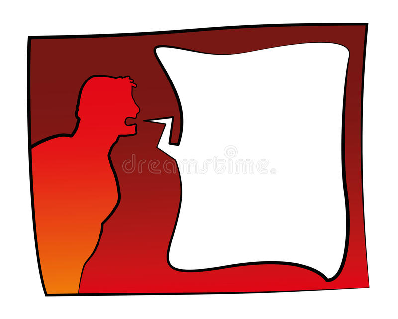 Angry Man Text Bubble. Angry screaming comic man with blank text bubble for your text. Isolated vector illustration vector illustration