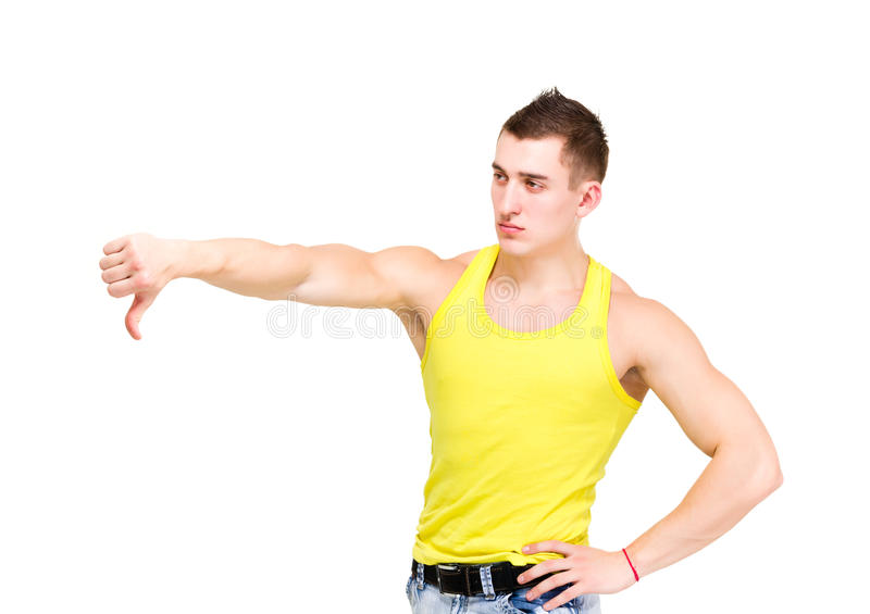 Angry man with thumb down royalty free stock image