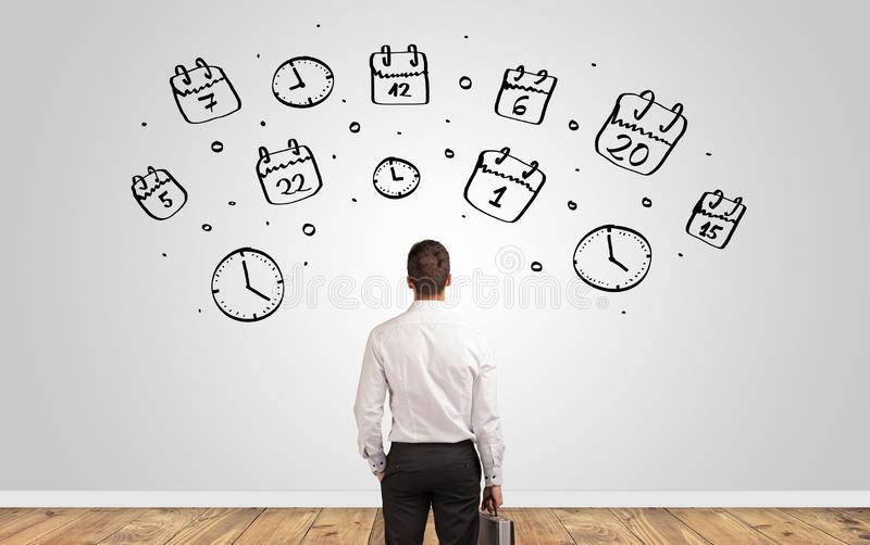 Manager looking to wall with overloaded brain concept royalty free stock photo