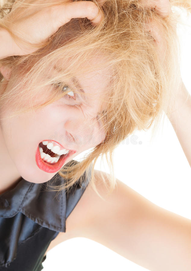 Angry messy business woman screaming with mouth wide open. Trouble in work.