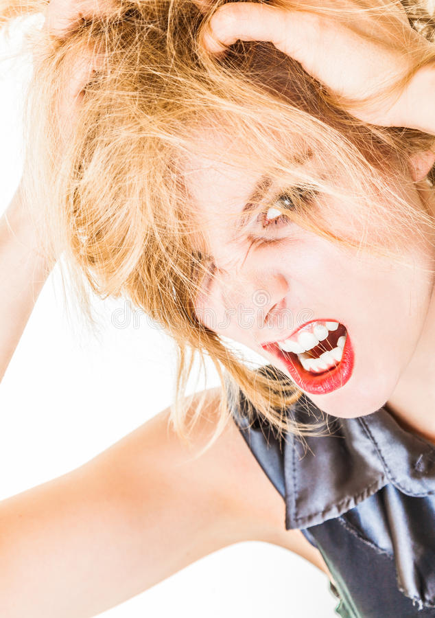Angry messy business woman screaming with mouth wide open. Trouble in work. Angry messy businesswoman boss screaming with mouth wide open. Crazy mad girl royalty free stock photography