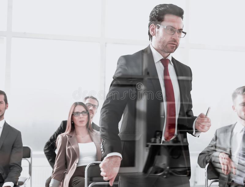 Angry Middle-aged Business Man Pointing at You. Close up cropped portrait of workers listening to boss orders or warnings.ceo is giving notice to quit stock photography