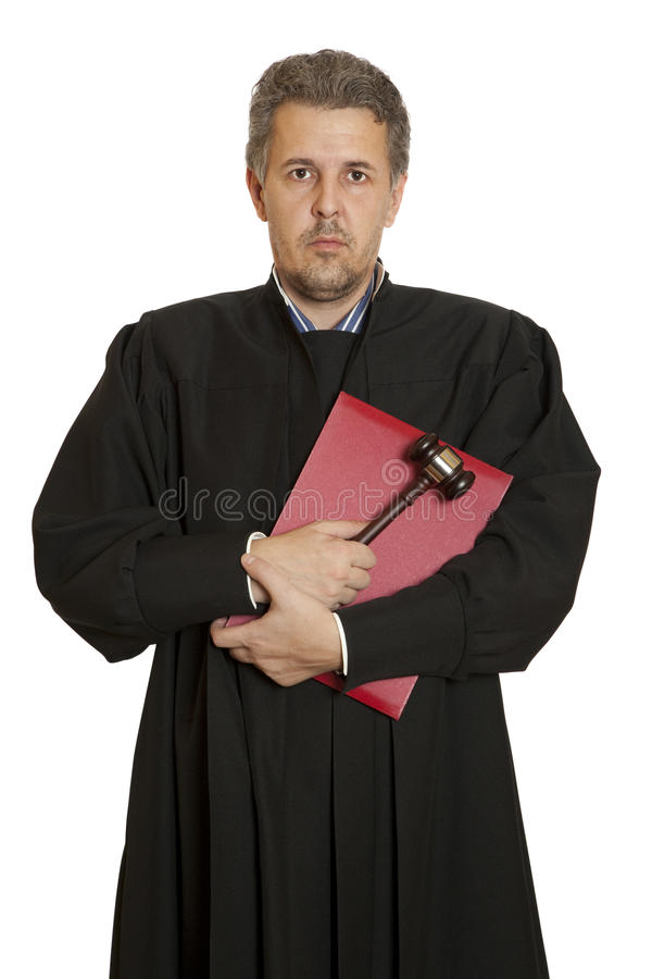Angry middle aged male judge royalty free stock image