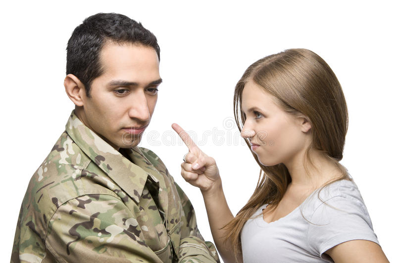 Angry Military Wife Points at Servicem stock images