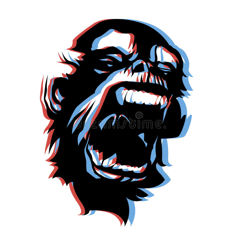 Angry monkey face 3D anaglyph style. Very angry screaming monkey face 3D anaglyph style. Vector royalty free illustration