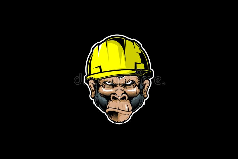 Angry Monkey with hard hat cartoon vector. Amazing animal cartoon character Angry Monkey with hard hat cartoon vector template for industry contruction vector illustration