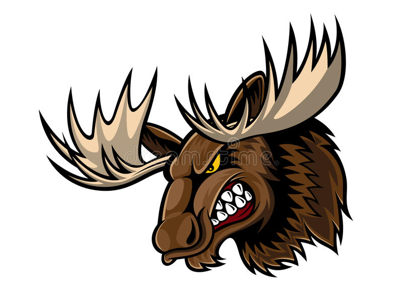 Angry Moose Head royalty free illustration