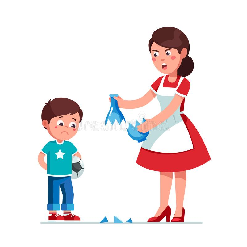 Free Angry Mother Scolding Son Kid For Breaking Vase Royalty Free Stock Photos - 159189418