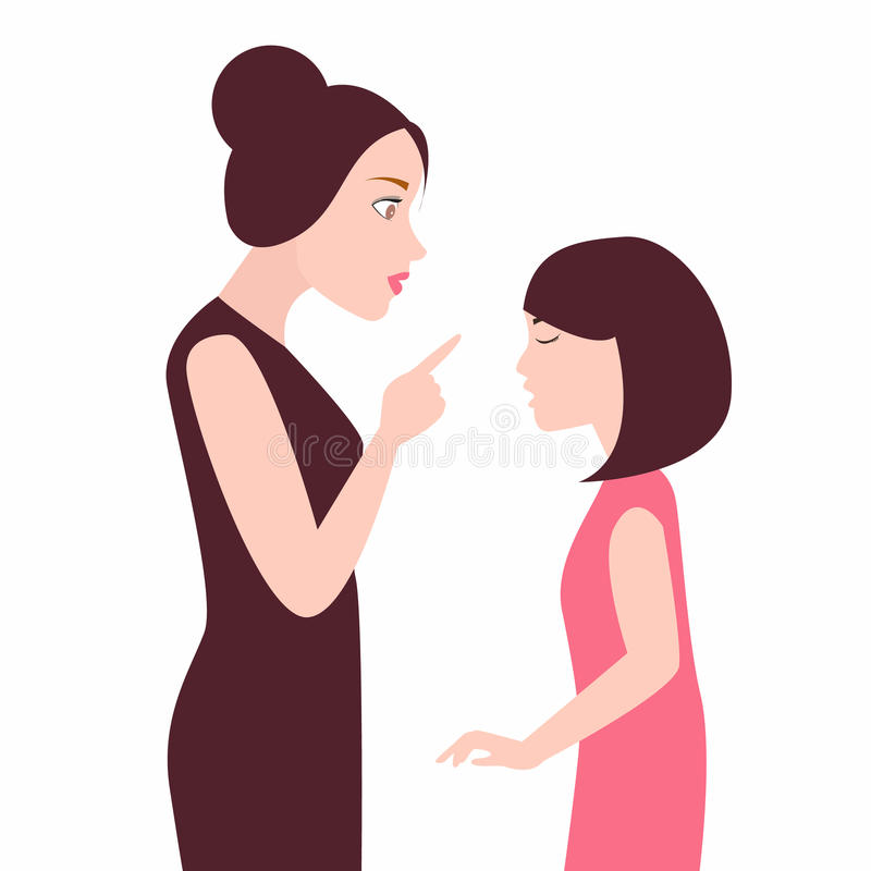 Angry mother to her daughter girl scolds her child arguing royalty free illustration